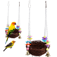 1 pcs Bird Nest Hanging Cave Cage swing Snuggle Hut Tent Bed Parrot Toy Hammock Birds Breeding Straw Cages