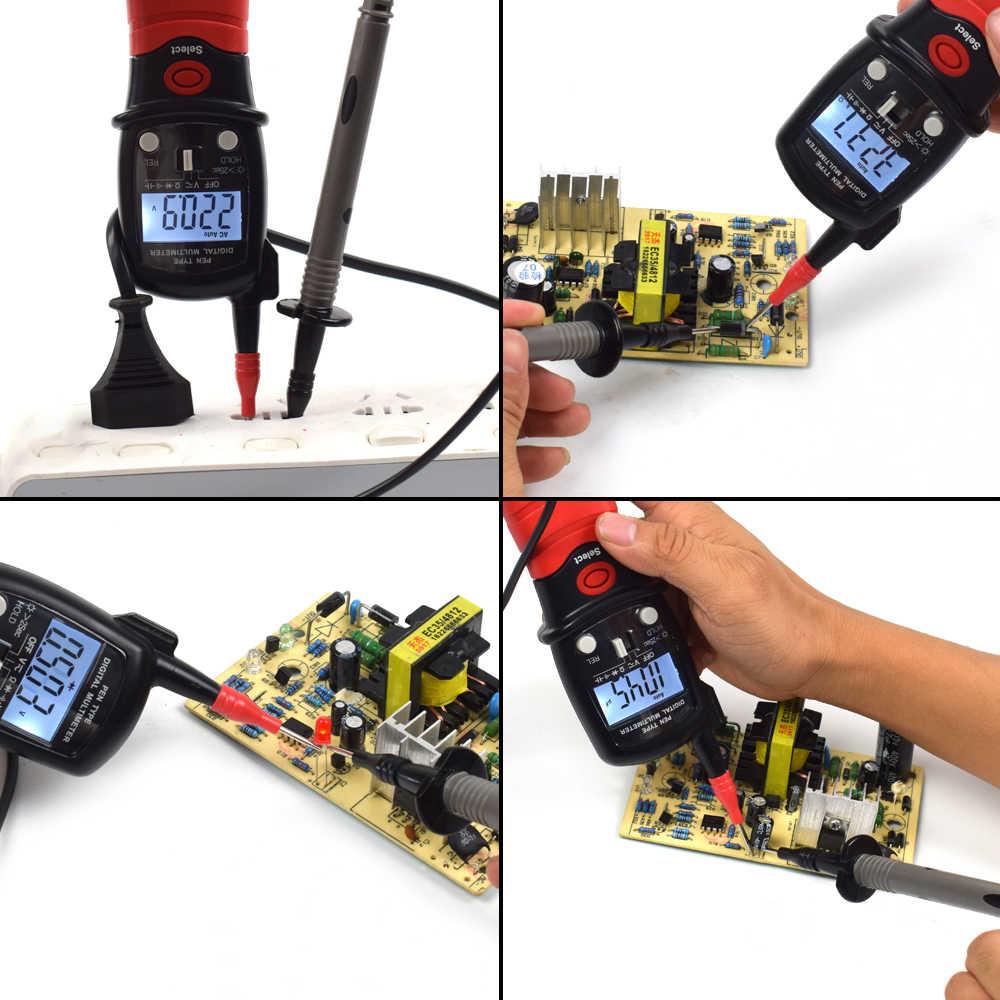NEWACALOX 펜 타입 디지털 멀티 미터 AC/DC 전압 측정기 휴대용 백라이트 저항 다이오드 커패시턴스 테스터 측정 도구