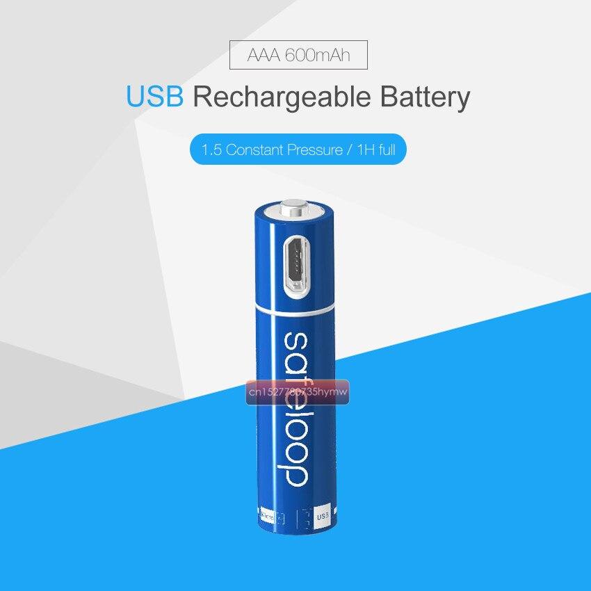 1pc AAA Bateria 1.5 mAh 600 V USB Bateria Recarregável De Polímero De Lítio de Carregamento Rápido Cobrado por Cabo Micro USB