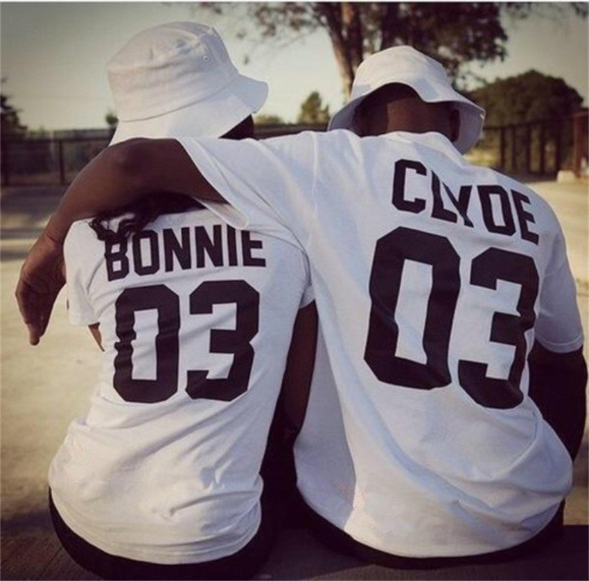 Valentine Shirts Women/Men Bonnie Bonnie 03 CLYDE 03 couples leisure cotton short sleeve T-shirt euro size O neck t-shirts 2018