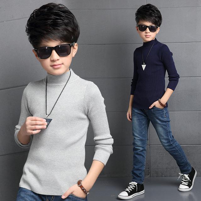Outono menino infantil de alta pescoço blusas de tricô azul-cinza das crianças mais velhas de algodão fino camisola de gola alta TOP12