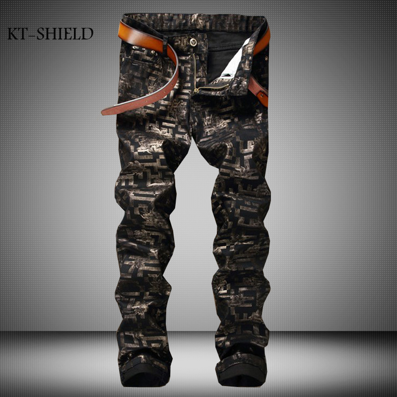 Famous Brand Geometrical Pattern Printed Jeans Men High Quality Fashion Designer Skinny Jeans Casual Hip Hop Denim Biker Jeans