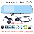 for android WIFI GPS navigation 5 Inch  Rearview Mirror Special Car DVR 1080P Full HD Dual Lens Camera touch screen