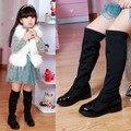 2016 Otoño Muchachas de Los Niños Estiran Botas Sobre La Rodilla Alto Botas Casuales Niños Princesa Zapatos de Arranque Superior de tela Elástica zapatos