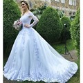 White Long Sleeve Wedding Gown Appliques Lace Casamento Off The Shoulder Sexy Bridal Dresses Royal Woman Wedding