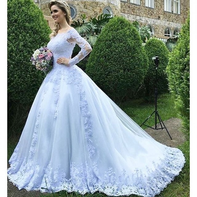 White Long Sleeve Wedding Gown Appliques Lace Casamento Off The Shoulder  Sexy Bridal Dresses Royal Woman Wedding e984126c4