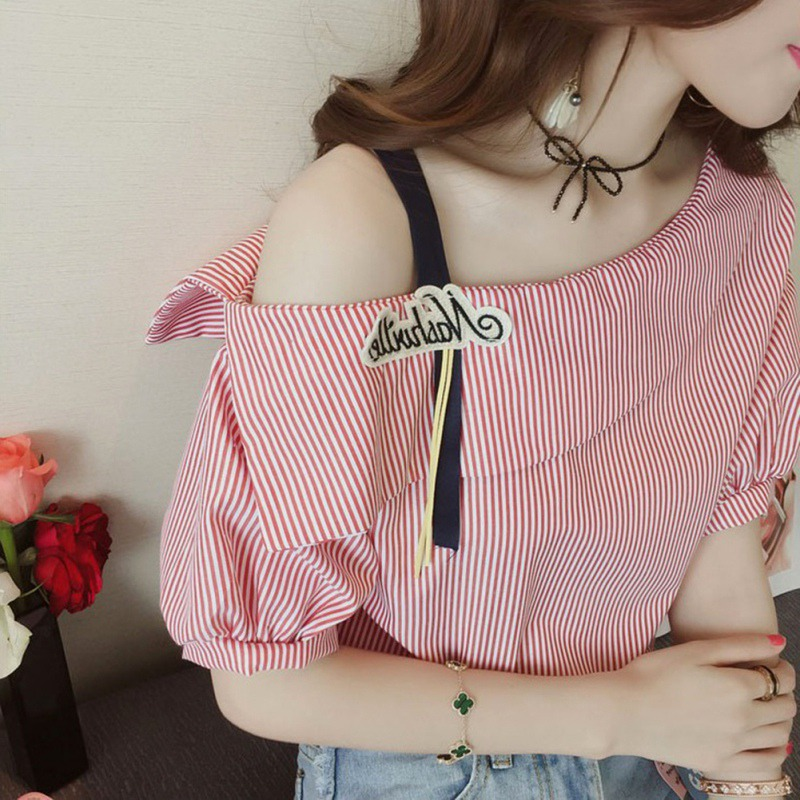 Women Striped Blouses Sexy Skew Collar Short Sleeve Loose Red Blue Blouse 2018 Women Spring Cute Casual Shirt Tops