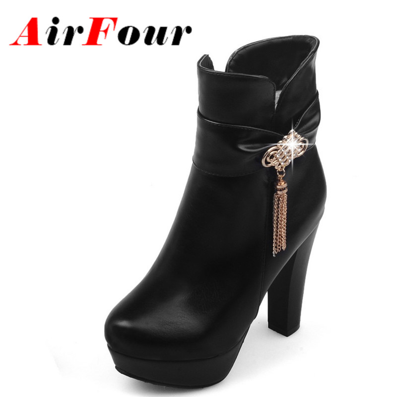 ФОТО Airfour Winter Rhinestone Charm Ankle Boots Women High Heels Zipper Platform Boots Warm Plush Bowtie Ladies Shoes Black White