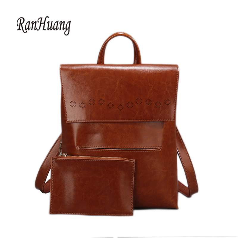 RanHuang Brand New 2017 High Quality Women Genuine Leather Backpack Women s Luxury Backpack Fashion Bags