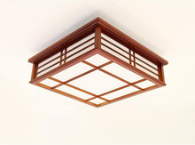 цены Japanese Style Square Ceiling Lamp Led Lighting Living Room Study Bedroom Solid Wooden Light Modern Minimalist LED Ceiling Lamp