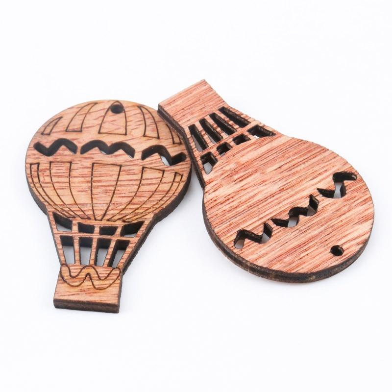 Wooden Cute Hot Air Balloon Pattern Art Scrapbooking Embellishments Craft Handmade Home Decoration Accessories DIY 20-35mm 20pcs