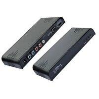Vga vídeo componente ypbpr + r/l de áudio estéreo de 3.5mm para hdmi Scaler Conversor Adaptador com Áudio 1080 P para PC Portátil PSP DVD VCR