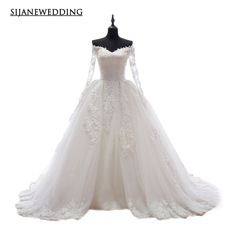 SIJANE Wedding Dresses Long Sleeves V Neck Flower Decoration Real Pictures Wedding dress 12