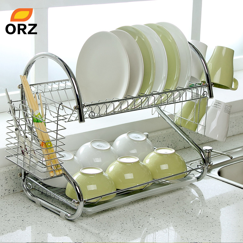 orz s shaped dish rack set 2 tier chrome stainless plate dish cutlery cup rack with tray steel. Black Bedroom Furniture Sets. Home Design Ideas