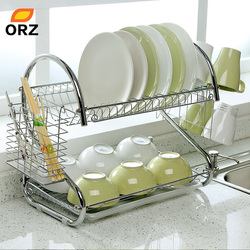 ORZ S-Shaped Dish Rack Set 2-Tier Chrome Stainless Plate Dish Cutlery Cup Rack With Tray Steel Drain Bowl Rack Kitchen Shelf