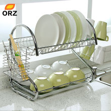 ORZ S-Shaped Dish Rack Set 2-Tier Chrome Stainless Plate Dish Cutlery Cup Rack With Tray Steel Drain Bowl Rack Kitchen Shelf(China)