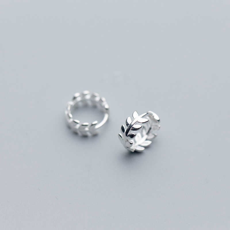 MloveAcc Real 925 Sterling Silver Earrings for Women Plant Leaf Small Hoop Earring Wedding Earings Fashion Jewelry