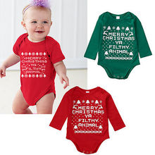 Christmas Baby Girl Jumpsuit Bodysuit Outfits Baby Long Sleeve Cartoon Printed Jumpsuit Baby Christmas constume