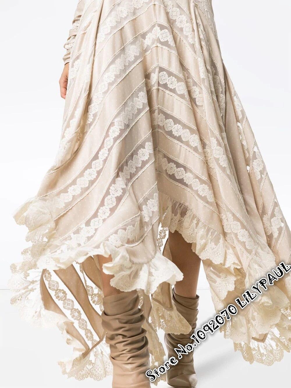 Chevron Dentelle Et Panneau Débridée Ourlet Satin Femmes Asymétrique En Skirt Jupe Guipure Buff Set Avec one PEqf5xRz