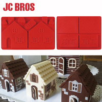 2 Pcs Set 3D Christmas House Gingerbread Silicone Mold DIY House Shaped Cake Cookie Chocolate Mould