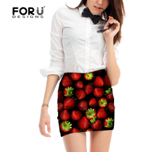 FORUDESIGNS 2017 New Fashion Beauty Strawberry Print Skirt for Female 3D Strech Pencil Skirt Summer Office Lady Style Sexy Skirt