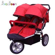 Babyboom внедорожные близнецы детская коляска шок пневматические колеса двухместный детские коляски