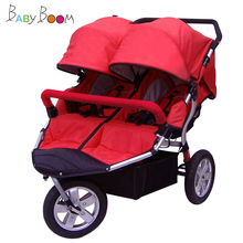 Babyboom off road twins baby stroller shock pneumatic wheels double baby stroller