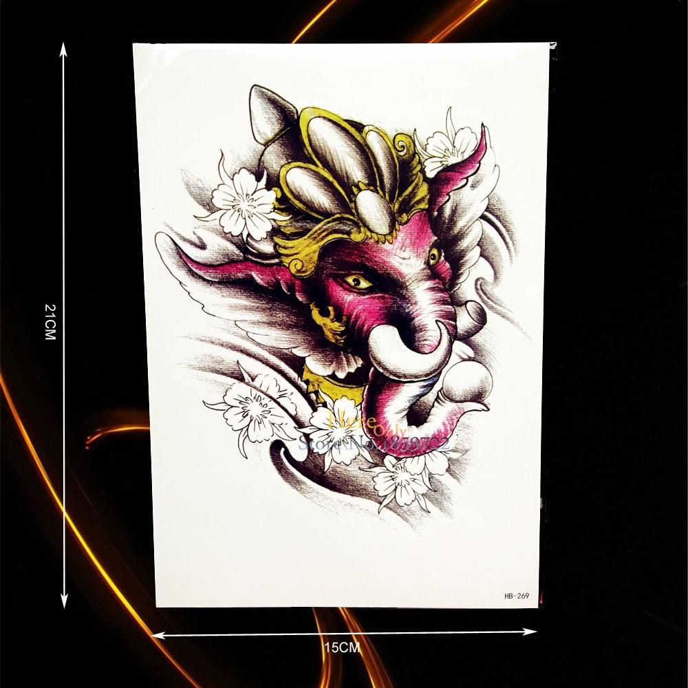 ୧ʕ ʔ୨1 Pc Duża Fierce Słoń Ganesha Tatoo Tatuaż Tatuaże Tymczasowe