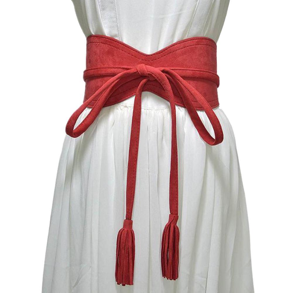 Hot Women Dress Belt Solid Color Faux Leather Bandage Tassel Sash Waistband Wedding