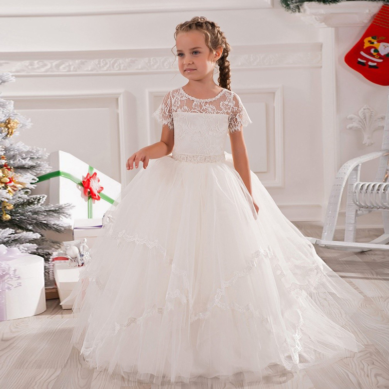 Grace White Formal Ankle Length Tribute Silk Tulle Tiered Wedding New Year Hollow Back Ball Gowns Little Girl Evening Gowns 2016 jacques lemans jl 1 1801m href