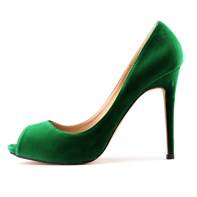 LOSLANDIFEN Women Flock Pumps 11CM Thin High Heels Peep Toe Shoes 2018 Slip on Office Lady Pumps Green,Red,Black,Blue