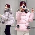 2016 New Winter Female Cotton Short Size Coat Fur Collar Jacket Thick Slim Slim All-match Cotton Winter Jacket Women Down Coat