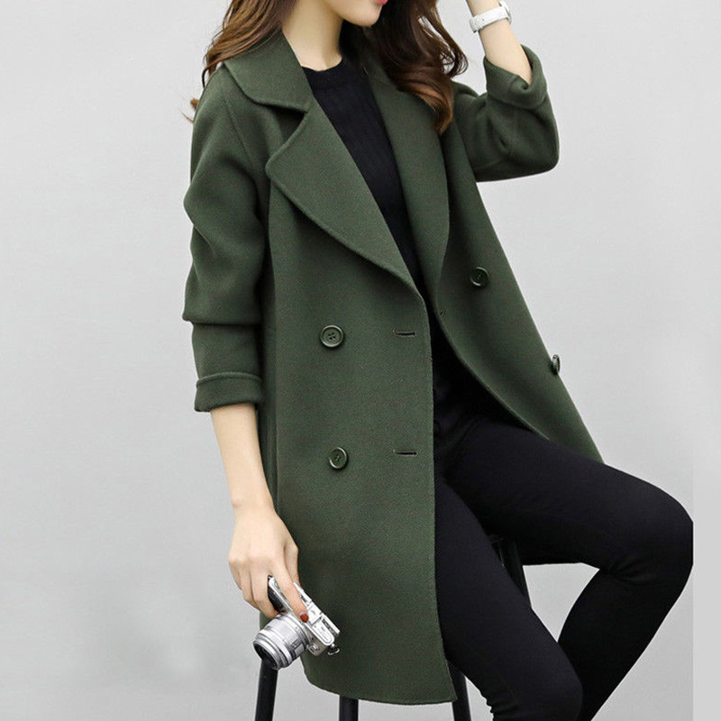 2018 New Womens Wool Blend Coat Turn Down Collar Slim Belt Double Breasted Coats Autumn Winter Elegant Female Overcoat 6Q0475 1