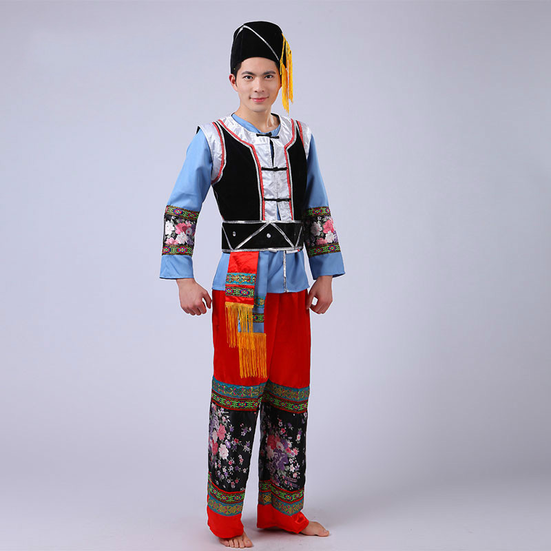 Man Chinese Traditional Clothing Miao Nationality Men Minority Dance Stage Performance Costumes Hmong YI Tujia Nationality