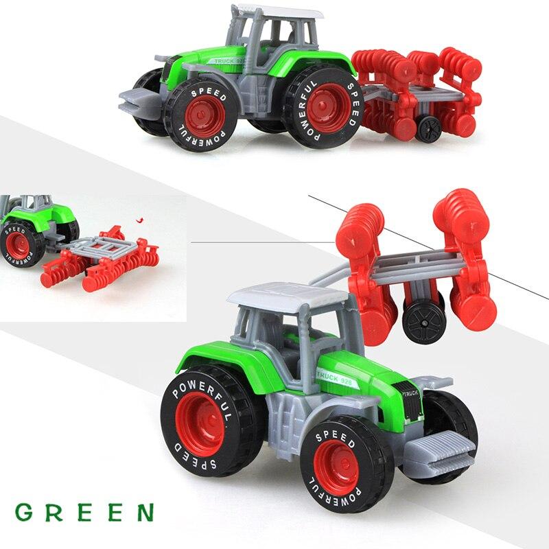 Литая под давлением сельскохозяйственная техника мини-модель автомобиля Инженерная модель автомобиля трактор инженерный автомобиль трактор игрушки модель для детей Рождественский подарок - Цвет: Tractor Green