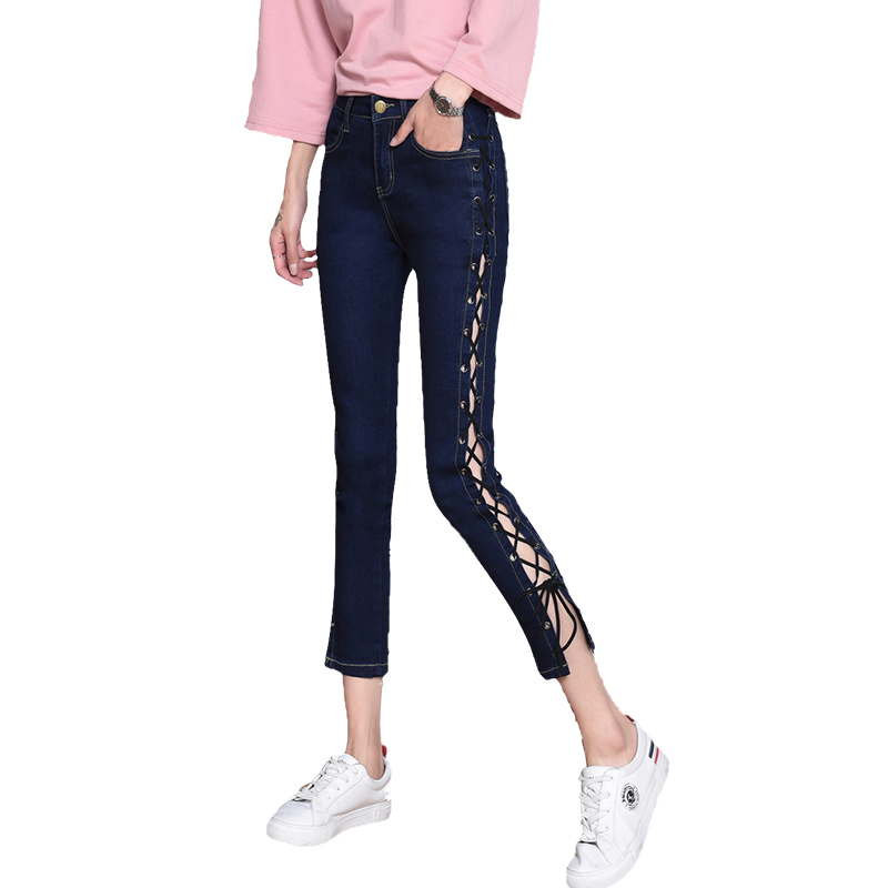 New Lace Up jeans women High waist jeans high waist stretch Slim Ankle-Length pencil pants spring autumn jeans pantalon femme spring new women jeans high waist stretch ankle length slim pencil pants fashion female jeans 2017 plus size sexy girl jeans
