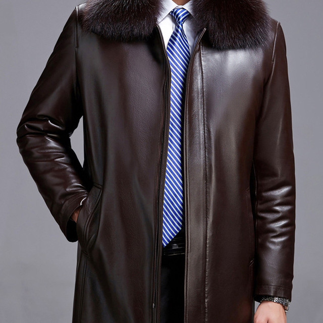 Real fox fur collar high quality natural mink fur liner winter jackets men faux leather coats outerwear 2018 new autum