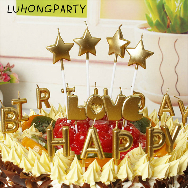 1pack New Love Happy Birthday Candle Cake Decoration Home Party Gold Silver HAPPY BIRTHDAY Candles Cute Gift