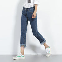 2017 LEIJIJEANS NEW Arrival Jeans For Women Flare Pants Tassel Fringe Skinny Jeans 6XL Plus Size