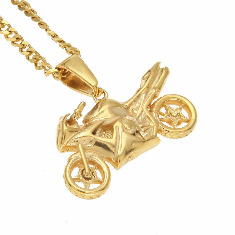 UWIN ze stali nierdzewnej fajne motocyklowe wisiorek moda biżuteria punkowa złoty kolor motocyklowe męska Hip hop wisiorki naszyjnik łańcuch