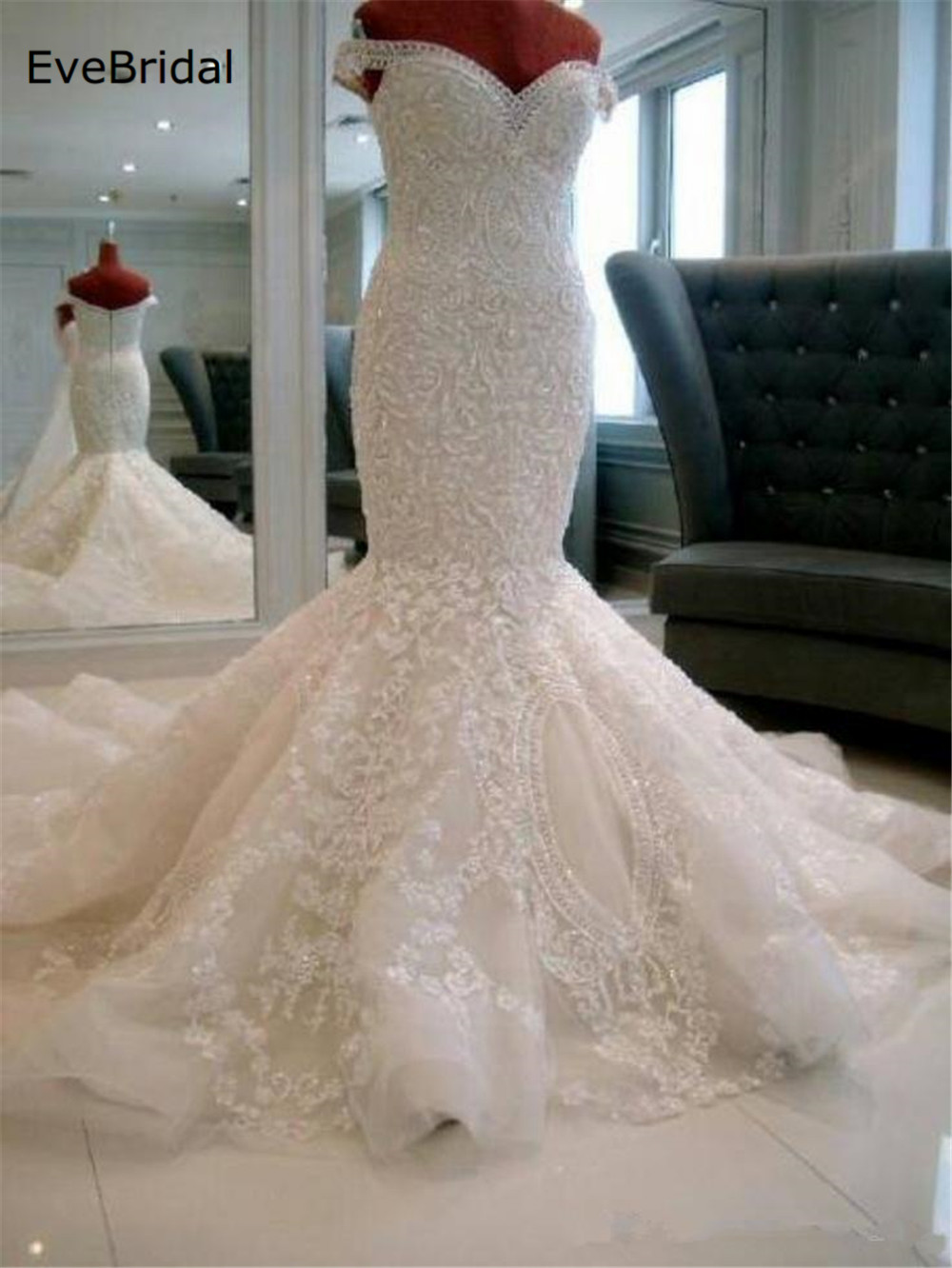 luxurious Mermaid Tulle Sweetheart Cap Sleeve Sequined Lace Applique Floor length Chapel Train Bridal Gown Wedding Dress in Wedding Dresses from Weddings Events