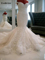 luxurious Mermaid Tulle Sweetheart Cap Sleeve Sequined Lace Applique Floor length Chapel Train Bridal Gown Wedding Dress