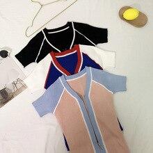 2019 Women Summer t shirt Sexy  Casual All-match Concise tshirt V-neck Zipper Slim Fit Short Sleeve Knitwear Tshirt