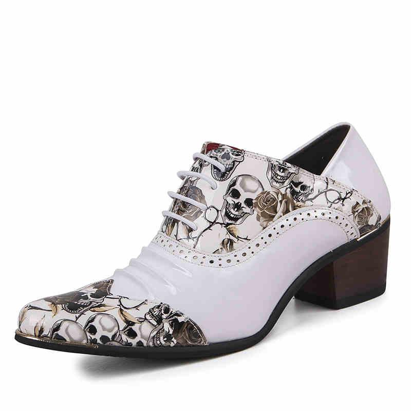 2822a1ea6ba3d Haute Sculpté De Richelieu Partie Bout Chaussures Talons Épais Mode A  Discothèque Verni 6 Cm Hommes Bullock Cuir Impression ...