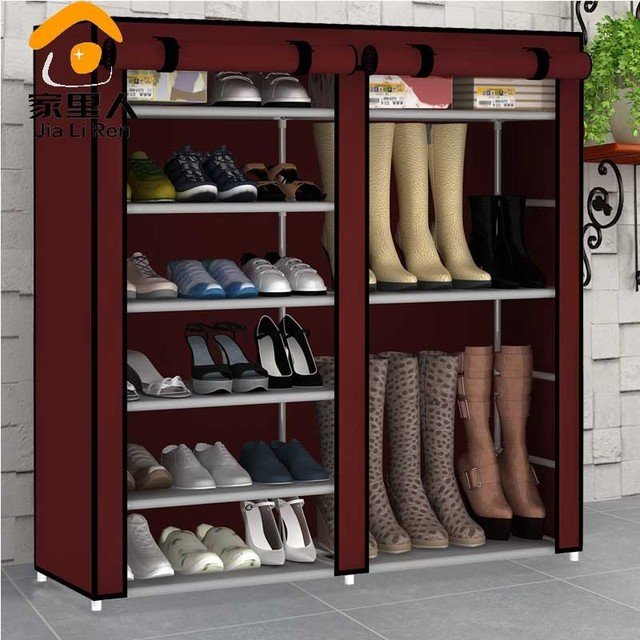 Simple High Capacity Double Cloth Shoe Boots Shoe Storage Cabinet Dust Shoe  Rack Large Thk