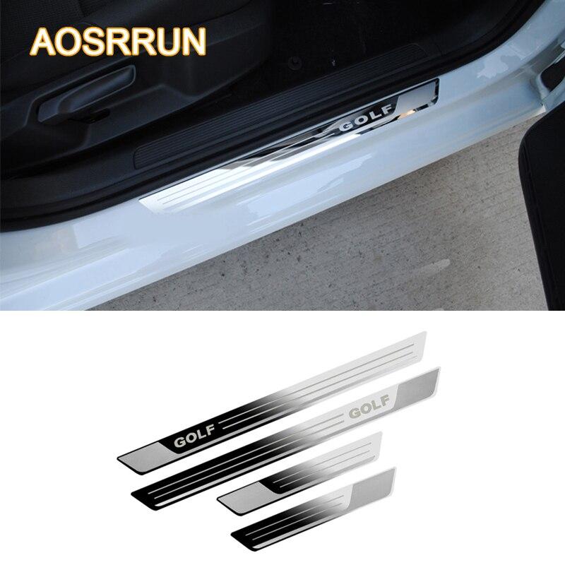 AOSRRUN For VW Volkswagen Golf 7 MK7 2012 2017 Car styling Stainless steel Door sill scuff