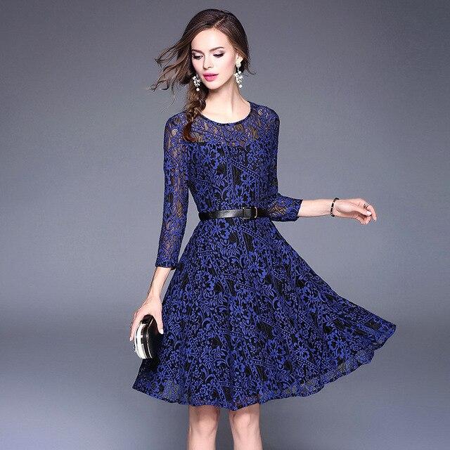 2ee63513cd Eleganckie kobiety sukienka z niebieskiej koronki jesienne sukienki kobiet  2017 Vestido rocznika koszula sukienka Midi sukienka