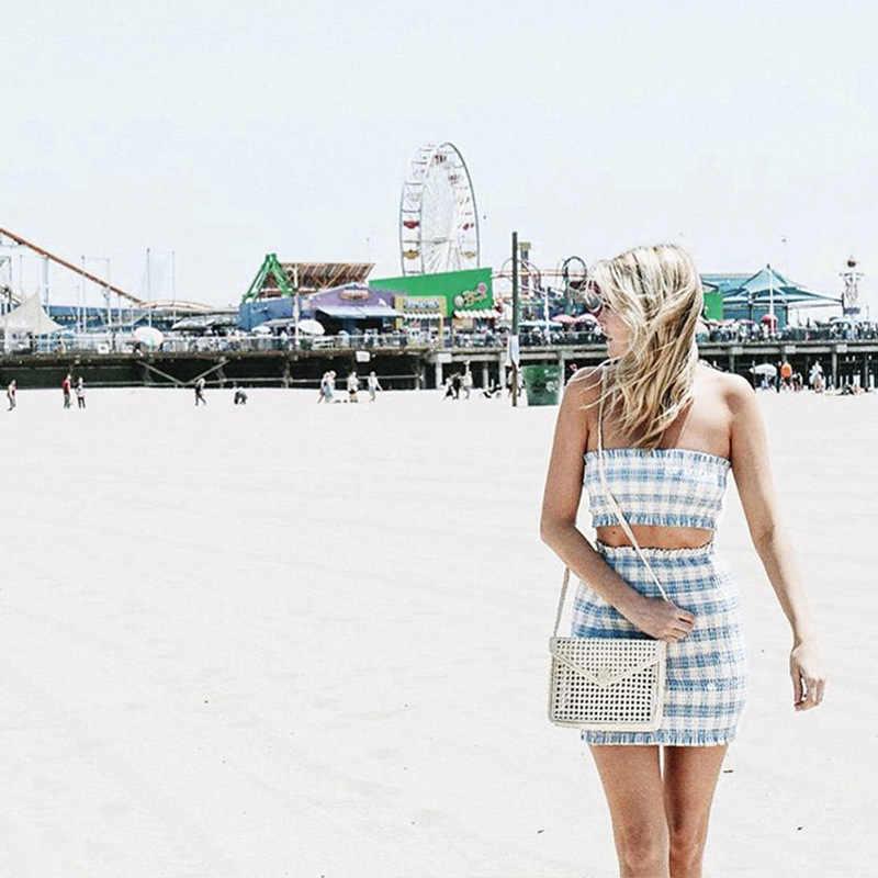 ANJAMANOR światła niebieski Plaid Sexy dwuczęściowy zestaw Smocked rury Crop Top i spódnica Mini letnie stroje Bodycon sukienka garnitur D71-AB97