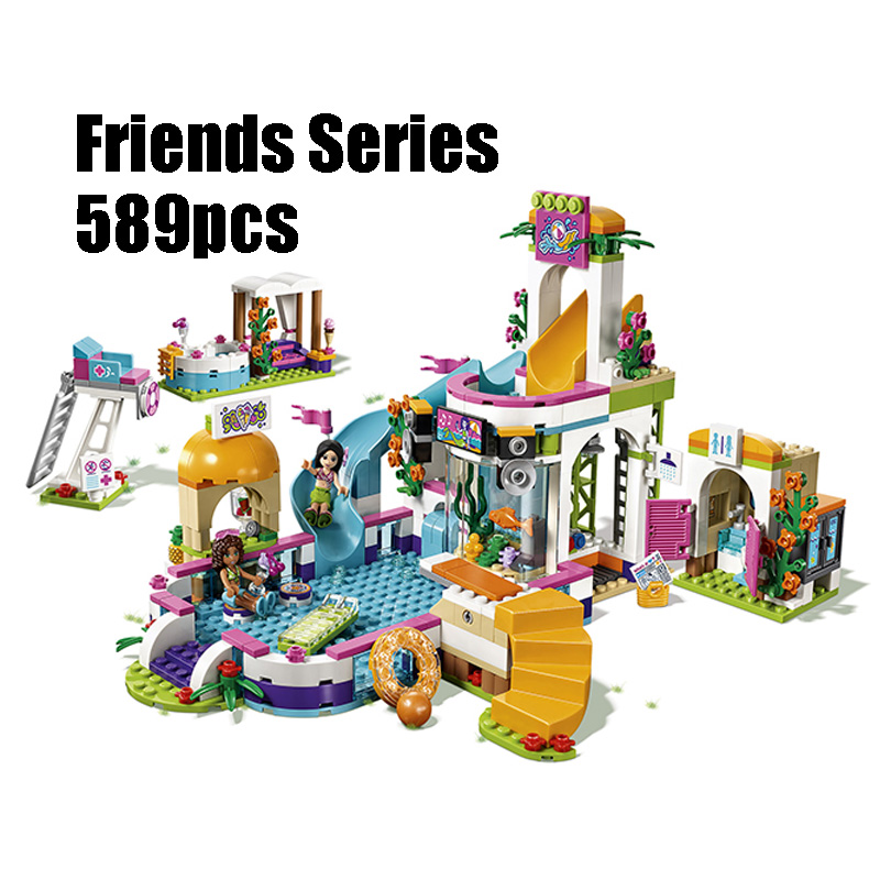 Compatible Legoing Friends 41313 lepin 01013 589pcs building blocks The Heartlake Summer Pool Bricks figure toys for children lepin building blocks model 01013 compatible legoing friends summer swimming pool 41313 educational toys for children