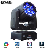 High Quality Zoom Led Mini Beam Wash Moving Head Light 7x12W 4in1 RGBW Quad Professional DJ Disco DMX Stage Lights